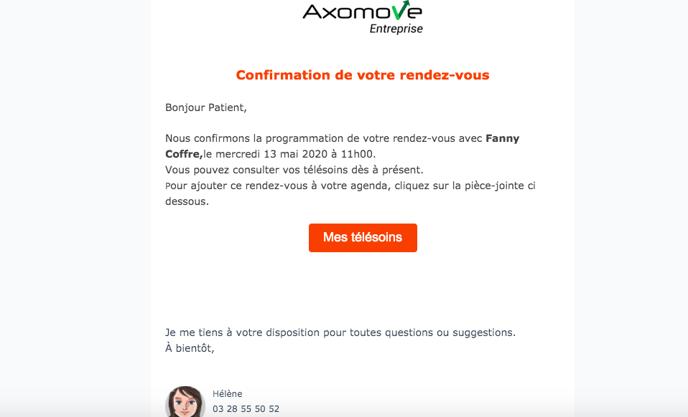email d'information pour un nouveau télésoin