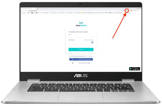 Pour installer Axomove sur Chromebook cliquez sur le + dans la barre de recherche
