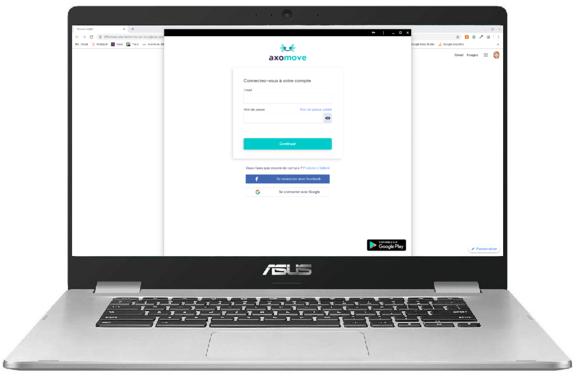 Axomove est installé sur le Chromebook, l'icône se trouve dans la barre de menu