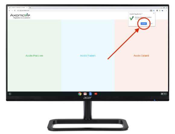 """Pour installer Axomove sur Chromebox, cliquez ensuite sur """"installer"""""""