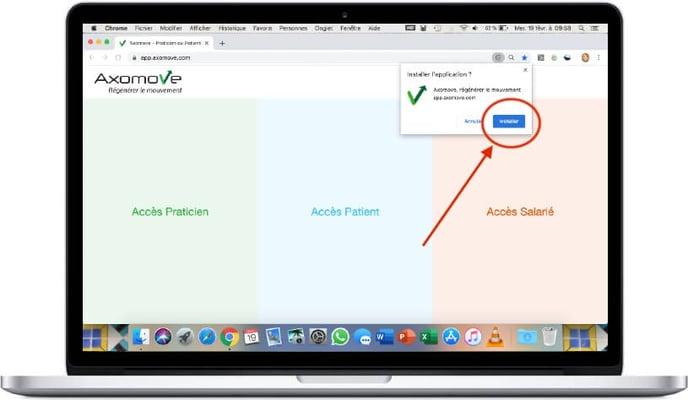 """Pour installer Axomove sur Mac, cliquez ensuite sur """"installer"""""""
