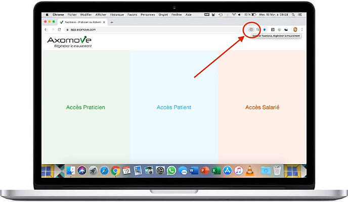 Pour installer Axomove sur Mac, cliquez sur le + dans votre barre de recherche