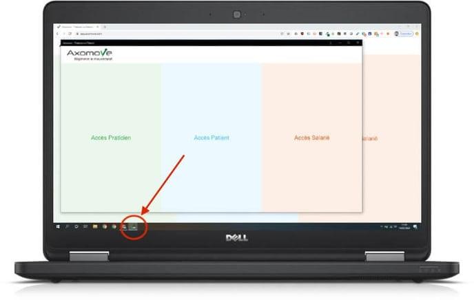 Vous retrouvez l'icône de l'application Axomove dans votre barre de menu