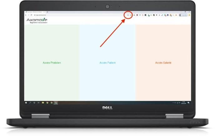 Pour installer Axomove sur votre pc, cliquez sur le + dans votre barre d'URL
