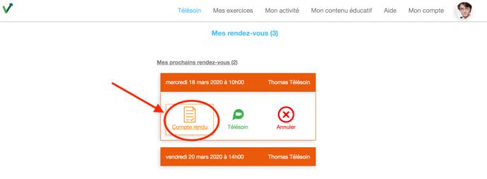 Vous pouvez accéder au compte-rendu du télésoin rempli par votre praticien