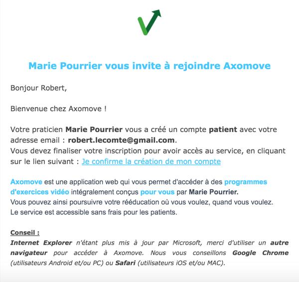 Votre patient reçoit un mail l'invitant à confirmer son compte Axomove