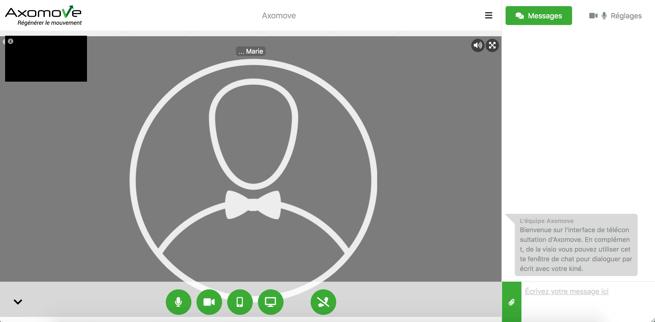 L'interface de télésoin vous permet de réaliser votre consultation à distance